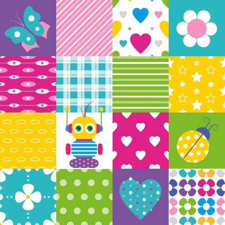 happy patchwork pattern collection Vector