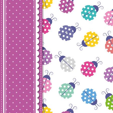 ladybugs and polka dot greeting card Vector