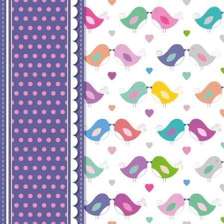 love birds and polka dot greeting card