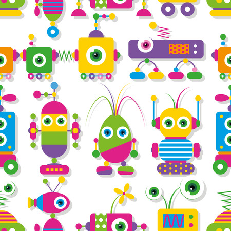 cute big-eyed robots collection pattern Vector