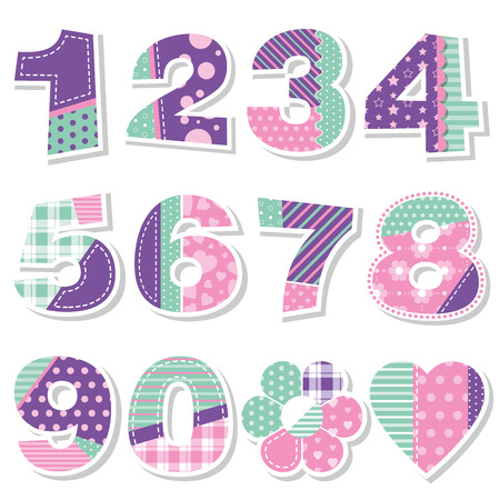 8 years birthday: cute birthday numbers collection Illustration
