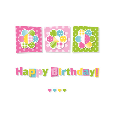 green day baby blue background: three flowers happy birthday card Illustration