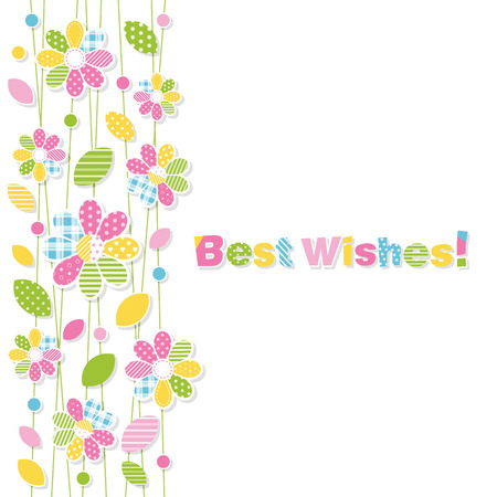 best wishes flowery greeting card Vector
