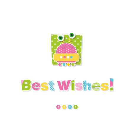 cute baby robot best wishes greeting card Vector