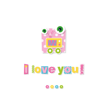cute baby robot I love you greeting card Vector