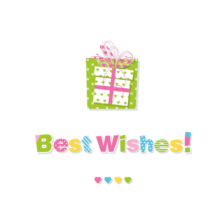 best wishes: birthday gift best wishes greeting card Illustration