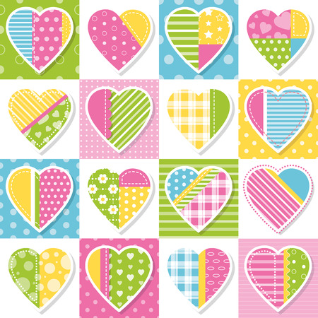 valentines day background: hearts collection patchwork pattern Illustration