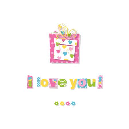 cadeau anniversaire: cadeau d'anniversaire je vous aime carte de voeux Illustration