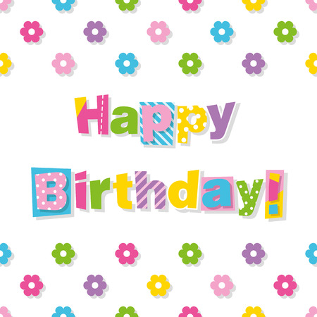greeting card backgrounds: happy birthday greeting card with colorful flowers