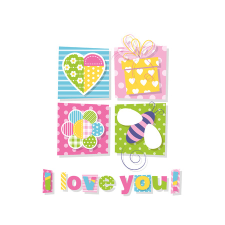 I love you greeting card 向量圖像