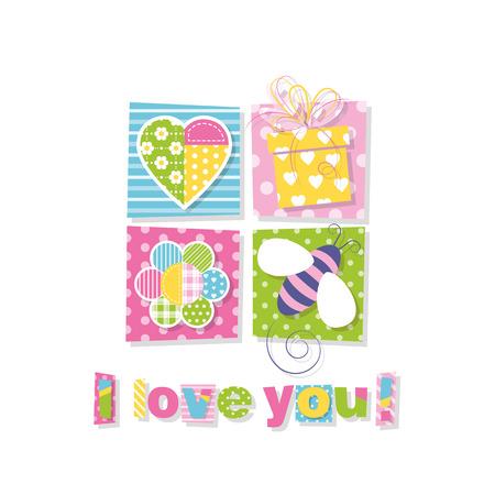 I love you greeting card Illustration