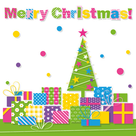 Merry Christmas tree and presents greeting card Vector