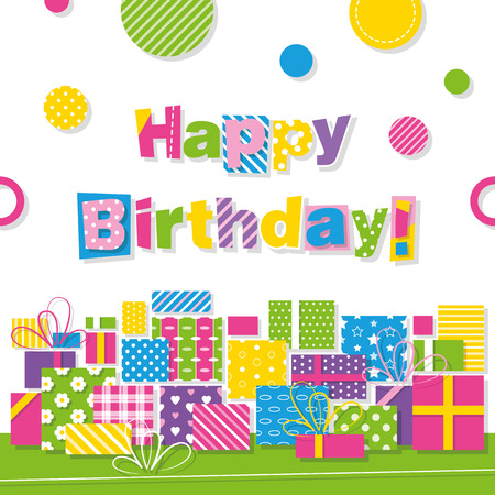 chequered ribbon: happy birthday presents greeting card