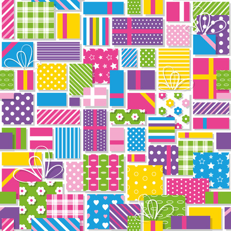 chequered ribbon: colorful birthday presents collection pattern Illustration