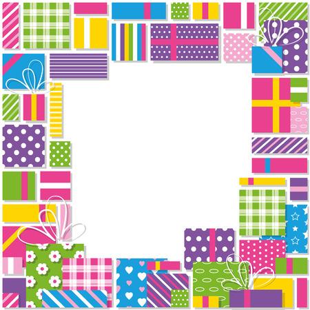 colorful birthday presents collection border Vector