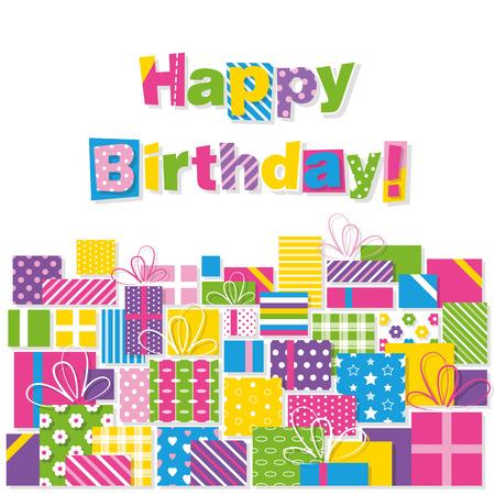 happy birthday presents greeting card Vector