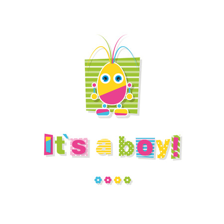 baby shower it?s a boy greeting card Vector