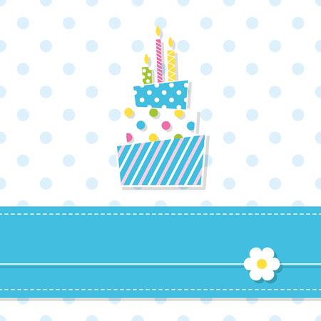 baby birthday: baby boy birthday cake and candles Illustration