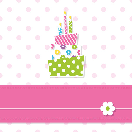 baby girl birthday cake and candles Vector