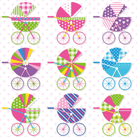 baby shower party: baby stroller collection pattern