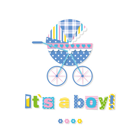baby boy announcement: baby stroller its a boy greeting card Illustration