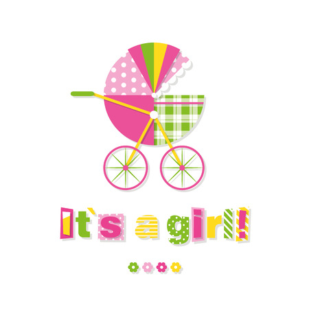 baby stroller its a girl greeting card Vector