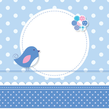 blue bird baby boy greeting card Vector