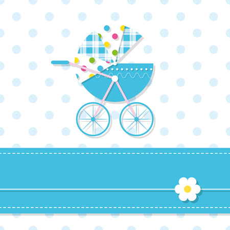 baby boy stroller greeting card 向量圖像