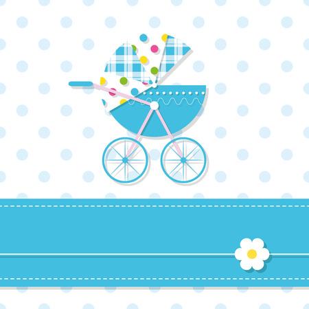 baby boy stroller greeting card Illustration