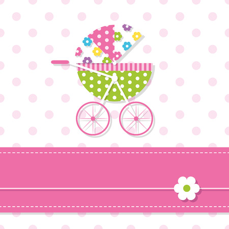 baby girl stroller greeting card