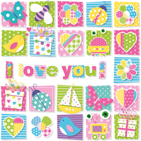birds bees ladybugs butterflies presents robots boats hearts and flowers collection pattern with I love you text on colorful rectangular background Vector
