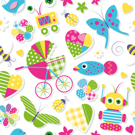 cute baby stroller hearts flowers toys and animals pattern Vector