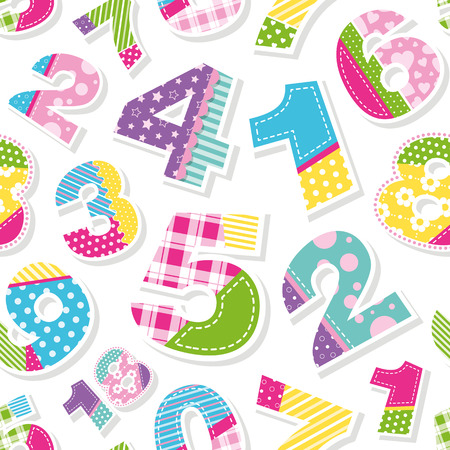 cute colorful numbers pattern Vector