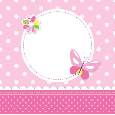 lazo rosa: mariposa de color rosa tarjeta de felicitación de niña bebé Vectores