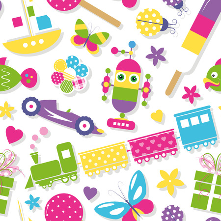 alien robot: cute toys, hearts, flowers and butterflies pattern