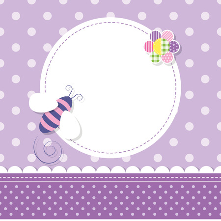 purple bee baby girl greeting card Illustration