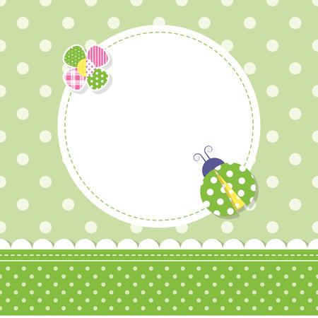 Mariquita verde tarjeta de felicitación de niño de bebé Foto de archivo - 36966603