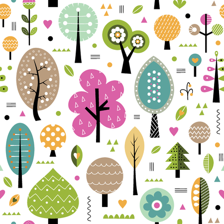 autumn trees pattern Illustration