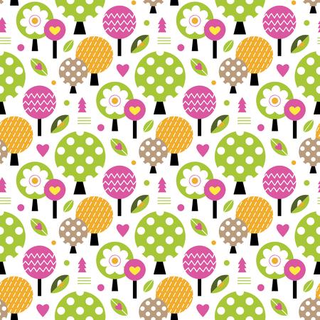 autumn trees pattern Illustration