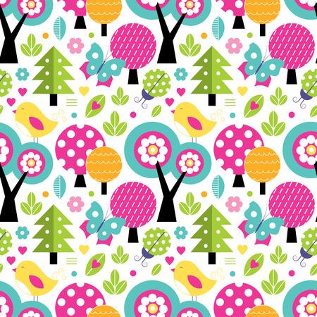 ladybug cartoon: cute forest pattern