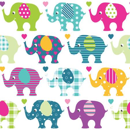 colorful elephants pattern