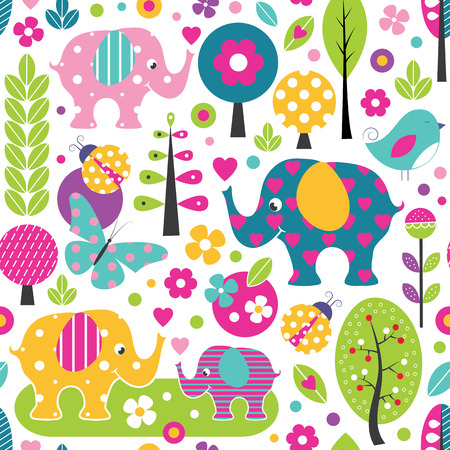 cute elephants, ladybugs, butterflies and birds in a colorful forest pattern Illustration