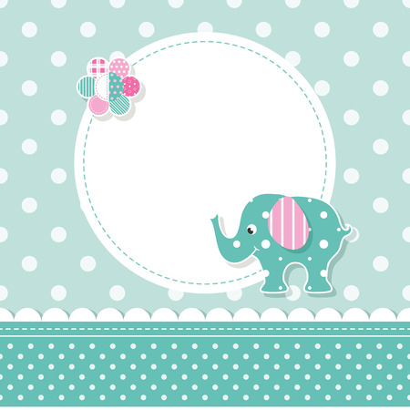 baby stickers: green and pink elephant baby greeting card