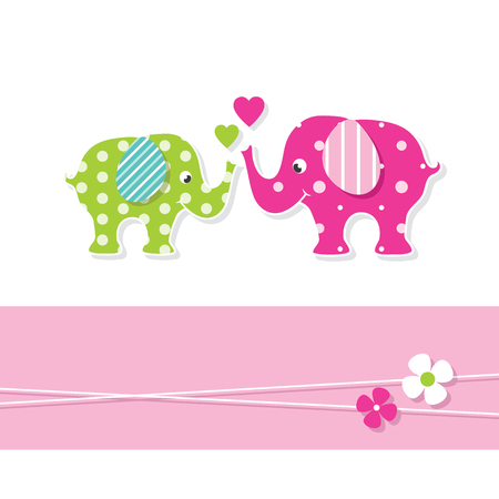 mom and baby elephants greeting card Illustration