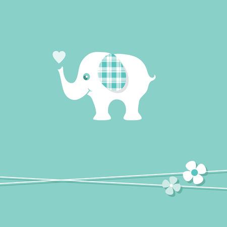blue baby boy elephant greeting card