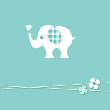 blue baby boy elephant greeting card