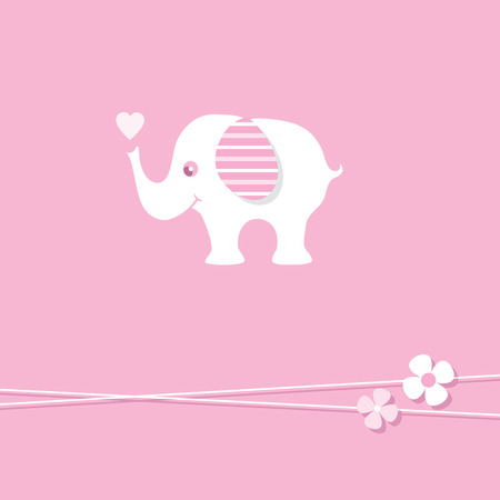 pink baby girl elephant greeting card