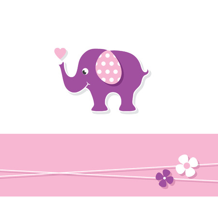 purple baby girl elephant greeting card