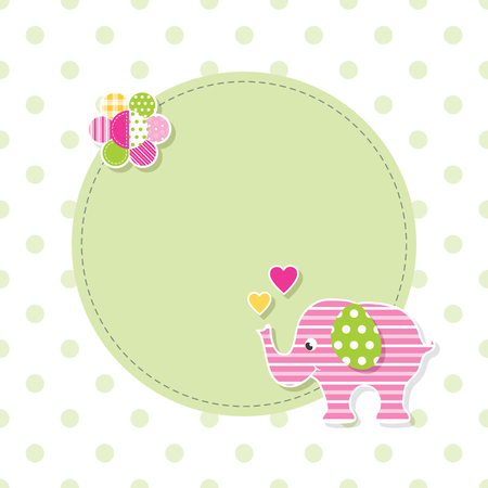 pink and green baby elephant greeting card