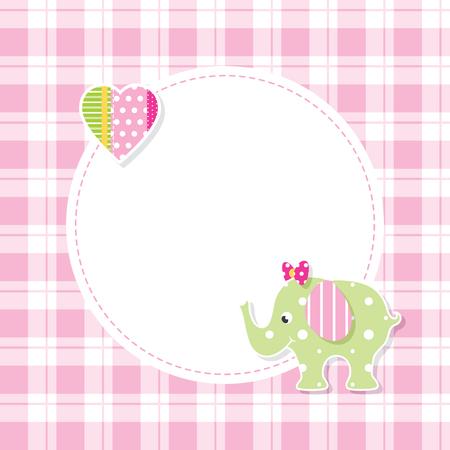 tarjeta de felicitación del elefante rosado de la muchacha y verde del bebé